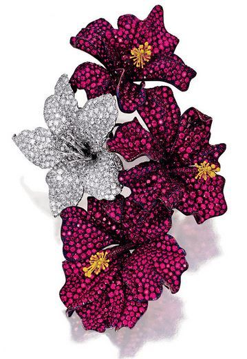 Ruby and Diamond Brooch, 'Hibiscus', Michele Della Valle