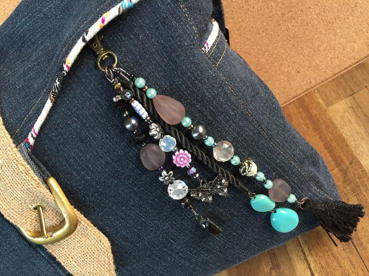 Key chain Boho / Bohemian tassel jewelry / beach bag charm / gypsy beach bag charm/ gift key chain/ key chain boho tassel / tassel clip by BelaCiganaBags on Etsy