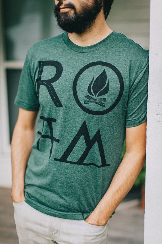 ROAM t shirt - tshirt men, mens graphic tee, camping print on forest green, wanderlust shirt for him, gift for travelers