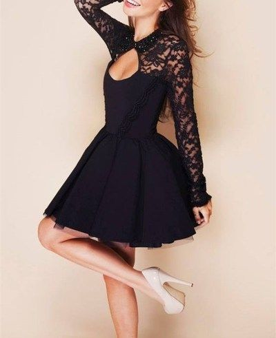 Black Lace Short Homecoming Dress, Puffy Prom Dress, Long Sleeve Formal Dress with Open Back Sexy Evening Dress
