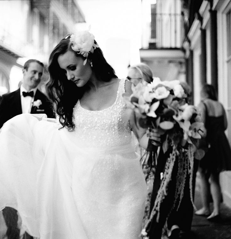 French Quarter wedding, black and white photography, bridal portrait, film photography, Image by Reg Campbell