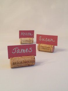 Cork Name Tags--click through for tutorial. // 10 (Easy!) Holiday DIY Projects Made From Wine Corks LearnVest