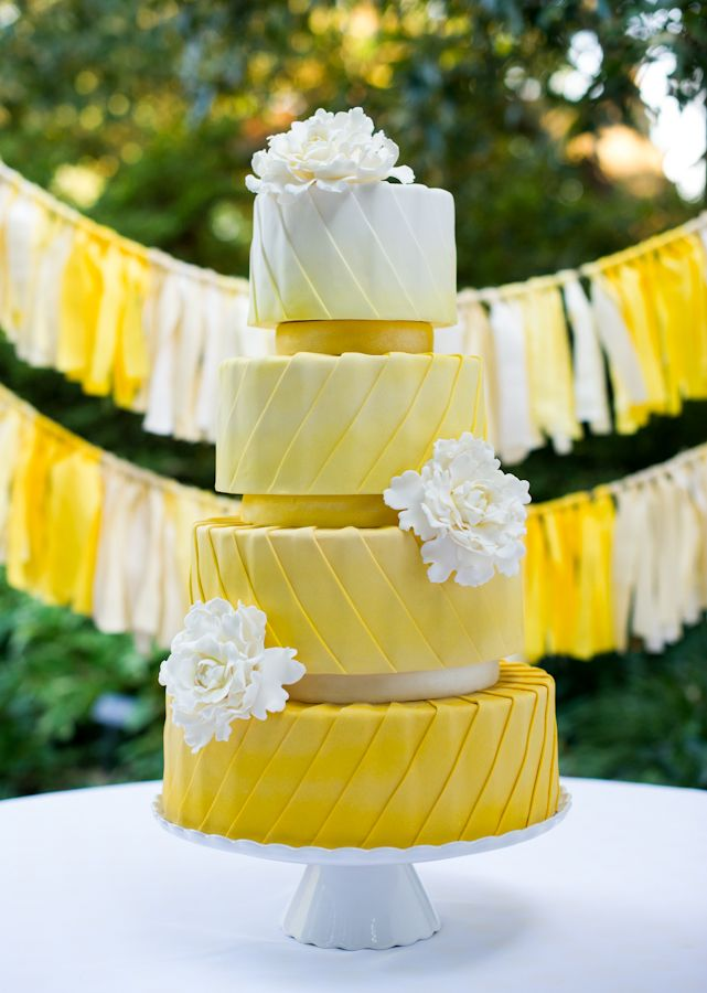 Yellow ombre cake } The Flour Garden sb-events.com | creationstudiosgallery.com #weddings