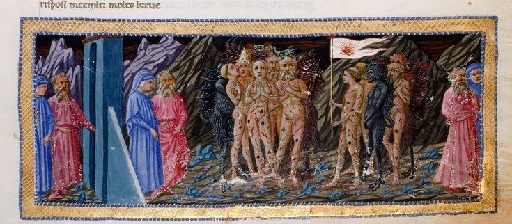 Приамо делла Кверча (?). «Вергилий и Данте в чистилище». 1444-50 гг. Миниатюра к «Божественной комедии» Данте. Британская библиотека, Лондон.