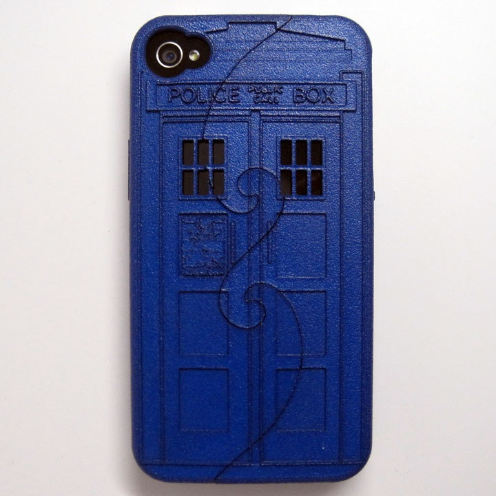 Ready-To-Ship Blue iPhone 4/4S 3D printed Police Box case. $85.00, via Etsy.