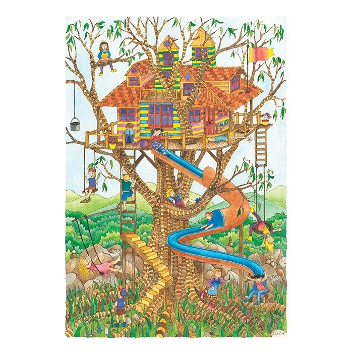 Jenny Laidlaw - 200 Piece Puzzle Tree House Who wouldn't love a treehouse like this? But the next best thing would be to build this puzzle together as a family and discover all the details in this beautiful drawing
