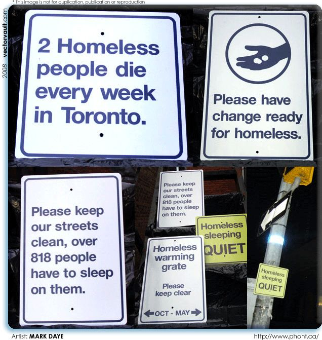 Political street signs about homelessness- Toronto- Mark Daye