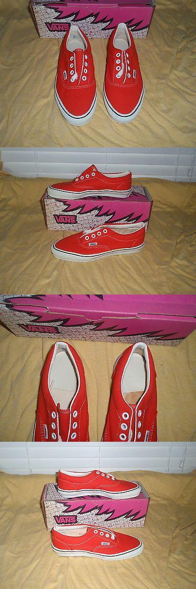 Women 159071: Nos Vintage 1990 Vans Lace Deck W Collar Orange 6 1/2 Sk8 Skateboard Bmx Shoes BUY IT NOW ONLY: $100.0