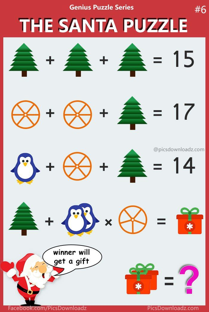 The Santa Math Puzzle -  Viral Puzzle Image. Solve this brainteasers math puzzle. Confusing puzzle image. check out the correct answer. Happy Christmas.