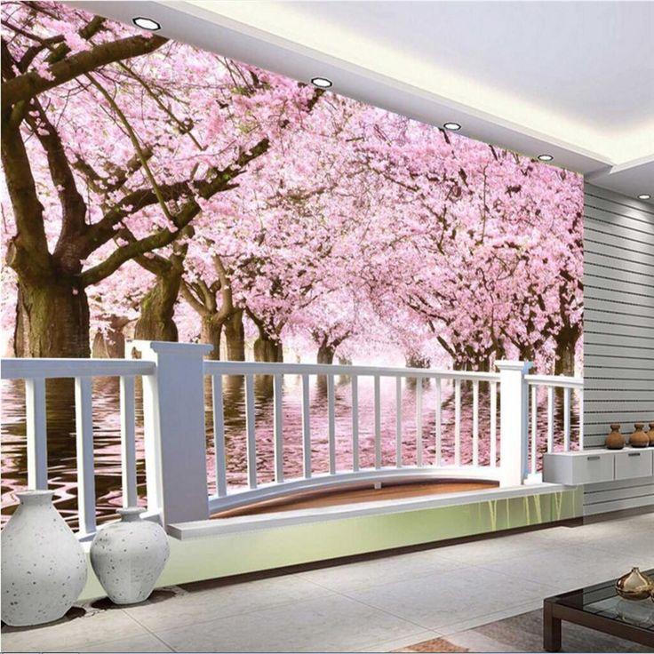beibehang Wallpaper Mural Wallpaper Sakura Tree Balcony TV Wall papel de parede 3d para sala atacado wallpaper for walls 3D #Affiliate