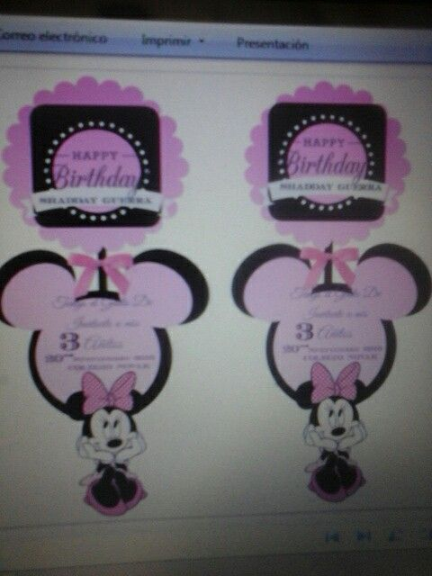 Invitaciones cumple de minie mouse