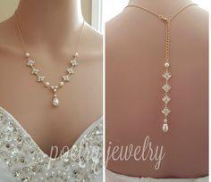 Gold Hintergrund Halskette Crystal Rücken von poetryjewelry auf Etsy