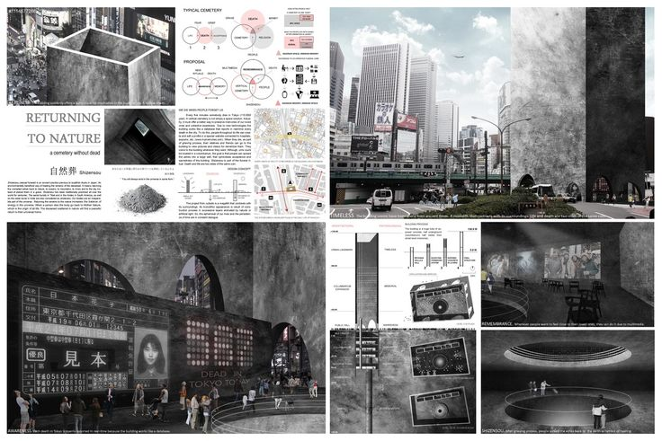""""""" RETURNING TO NATURE """" - Tokyo Vertical Cemetery competition finalist"""