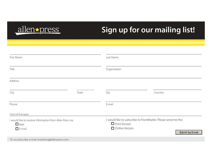Mailing List Form Template Sign up for our mailing list! VTS - email signup template