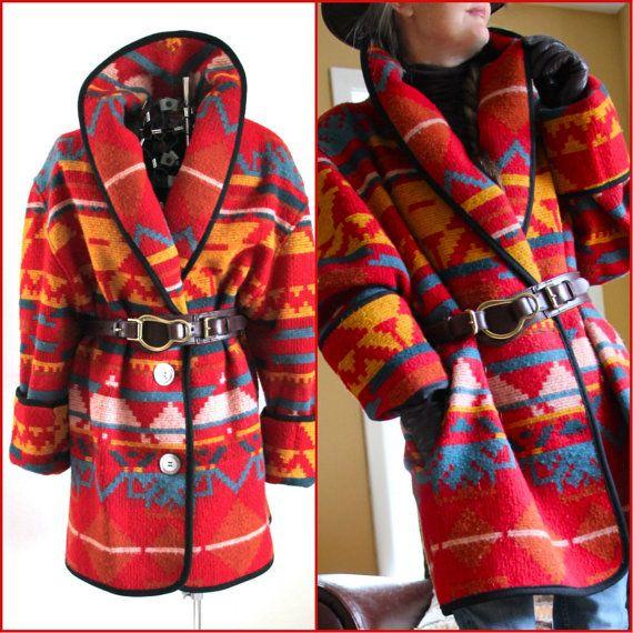 Plus Size Indian Blanket Coats   Indian Blanket Coat 80s Wool Blend Bright L by forestvalevintage