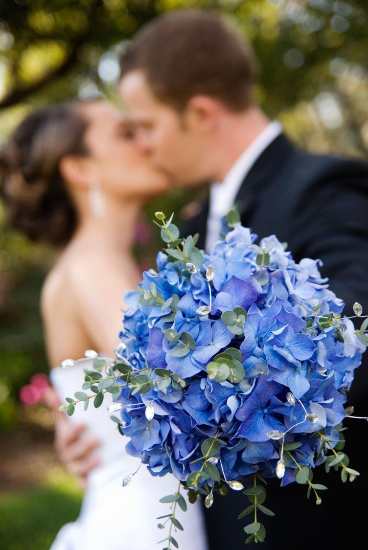 Full on blue bouquet of hydrangea.  Love the greens interspersed throughout ~ we ❤ this! moncheribridals.com