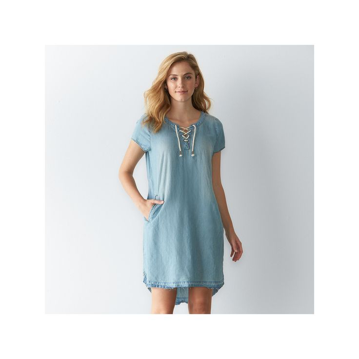Women's SONOMA Goods for Life™ Release Hem Chambray Shirtdress, Size: XXL, Blue Other