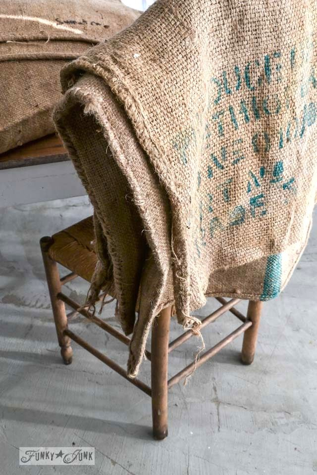 Where to find burlap sacks / No sew burlap coffee bean sack sofa pillows... instantly! via http://www.funkyjunkinteriors.net/