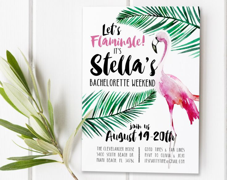 Flamingo Invitation Invite, Let's Flamingle Bachelorette Party Retro Tropical Summer Birthday Shower Pink and Green Invites Invitation [7] by 21Willow on Etsy https://www.etsy.com/listing/466356391/flamingo-invitation-invite-lets