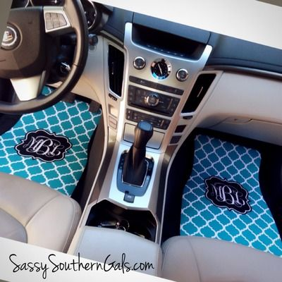 Monogrammed car mats / personalized car mats. Design your very own set! Choose from 50+ designs and colors. www.SassySouthernGals.com