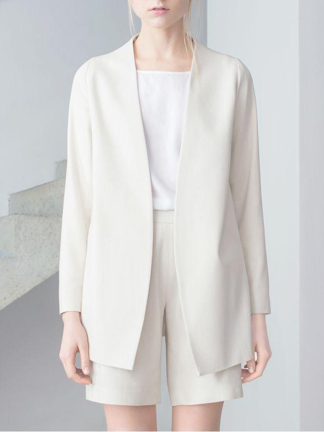 THISISNON Raw Silk White Blazer