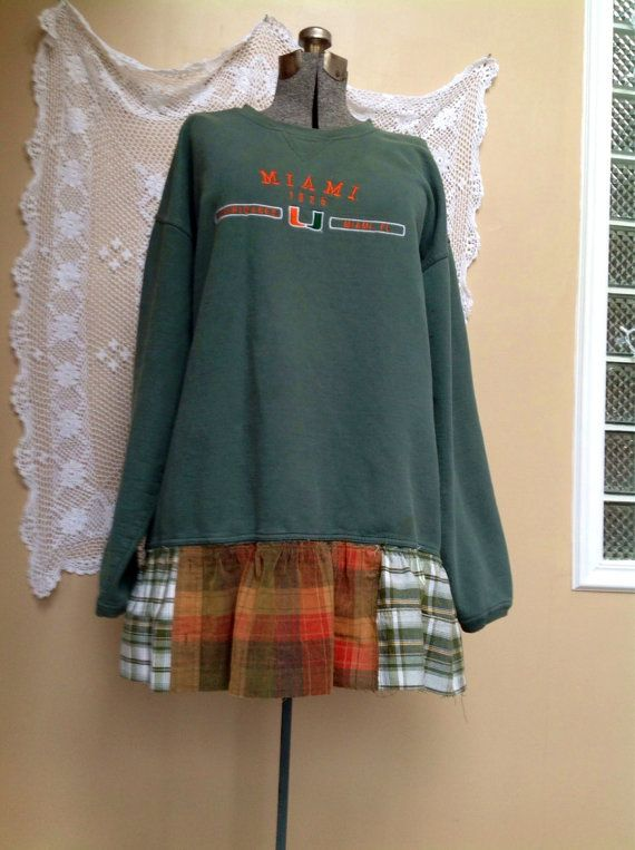 Upcycled Tunic Dress, upcycled Patchwork Game Day Tunic Miami Hurricanes Sweatshirt Plaid Patchwork ruffles   35 long 50 bust and hips