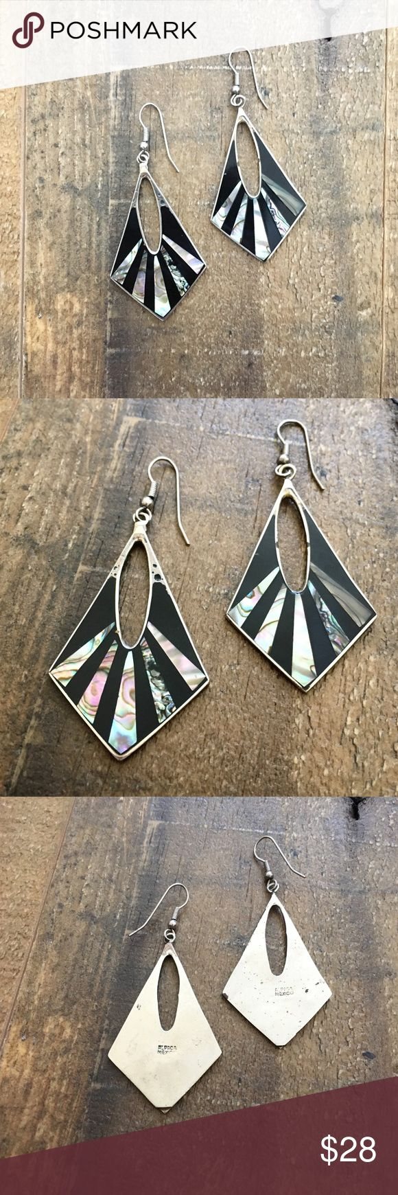 '80s / Mexico Silver Zebra Earrings Alpaca Mexico silver dangle earrings with abalone inlay. *Matching bangles also for sale!  ⁂ Great bundle item! Two items = 20% off ☒ I do not model or trade, sorry! ❁ Check out my closet for more vintage! Vintage Jewelry Earrings