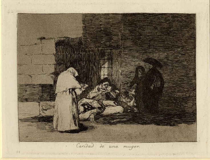 """Image gallery: Caridad de una muger (A woman's charity) / Los Desastres de la Guerra (The Disasters of War) - Plate 49: woman bringing food to starving figures on corner of street, wealthy couple looking on to right; from an unbound album of first edition impressions. 1812-15 Etching, lavis, burin and burnisher with surface tone, printed on paper with watermark """"J.G.O."""" and shell"""
