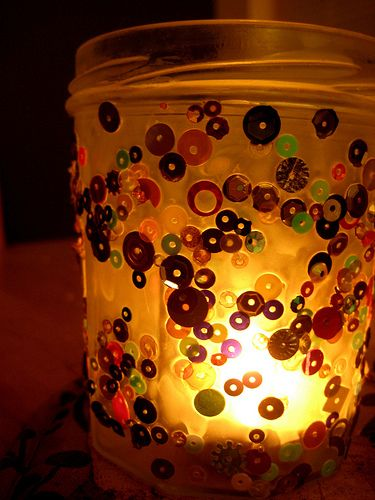 How to make jam jar candle holders -- glue/modge podge, stuff, another layer of glue/modge podge