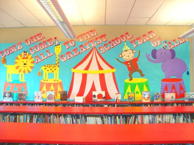 """Come One, Come All to the Greatest School Year of All"" circus theme library bulletin board"