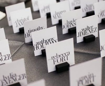 Place cards with PLUM font