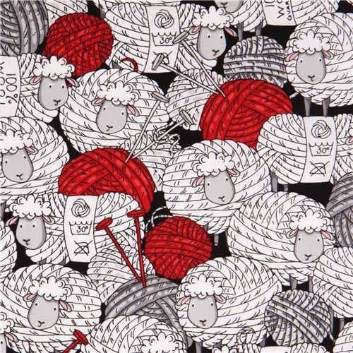black ball of wool sheep fabric Timeless TreasuresUSA 2