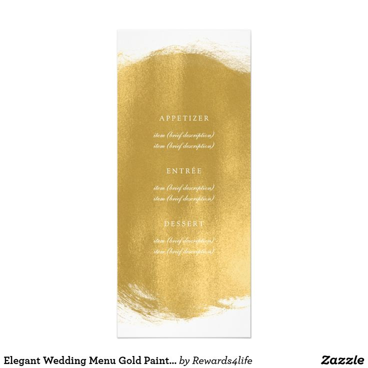 zazzle wedding invitations promo code%0A Elegant Wedding Menu Gold Paint Look