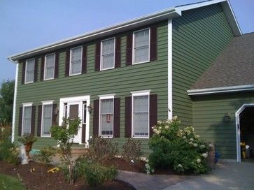 Exterior paint green houses and white trim on pinterest - White house green trim ...
