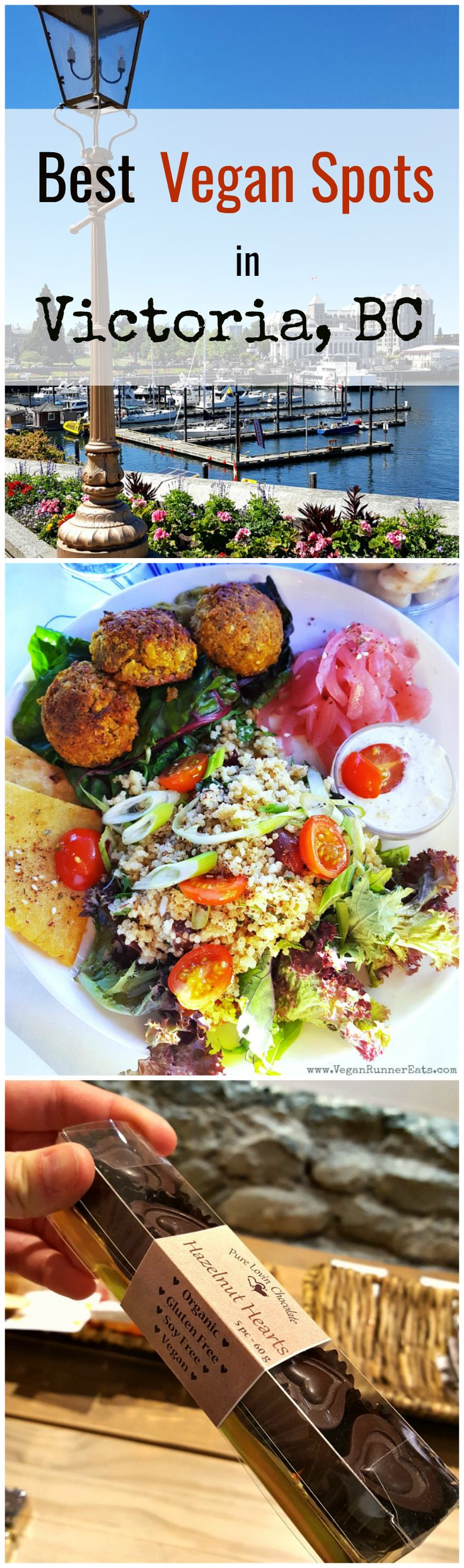 Best vegan restaurants and shops in Victoria, BC. Visiting Vancouver Island in British Columbia? Check out these best vegan and vegan-friendly spots in Victoria, from Green Cuisine Vegan Buffet and be Love bistro to Pure Lovin'Chocolate Shop and Rebar diner!