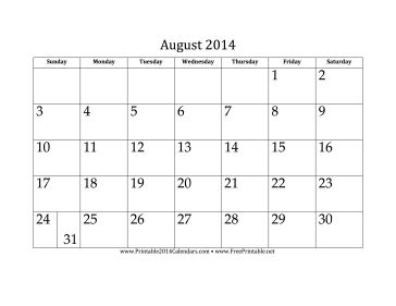 August 2014 Calendar free to download and print