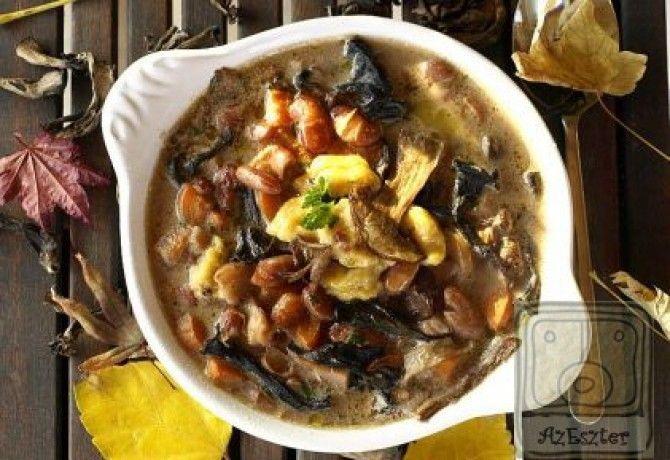 Erdei gombás bableves sajtgaluskával recept képpel. Hozzávalók és az elkészítés részletes leírása. Az erdei gombás bableves sajtgaluskával elkészítési ideje: 70 perc