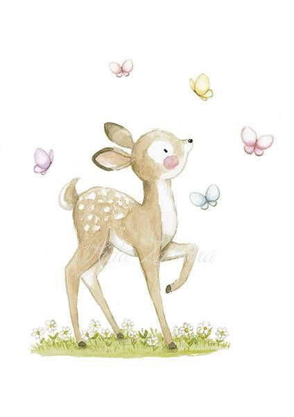 "Nursery print ""FAWN"" Archival Print, Nursery art, Butterflies nursery art, Fawn nursery art, Woodland animals print, girls wall art"