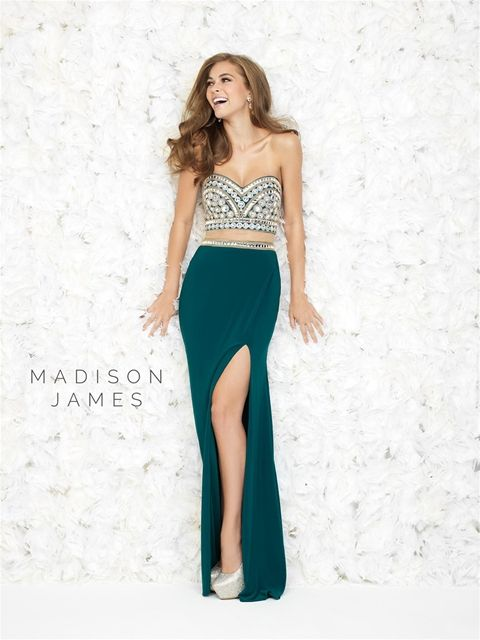 Style: 15-168 Madison James 2015 two piece prom dress with fully beaded bodice and beaded belt and slit on skirt