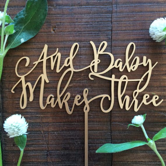 Baby Cake Topper  And Baby Makes Three  by MidnightConfetti