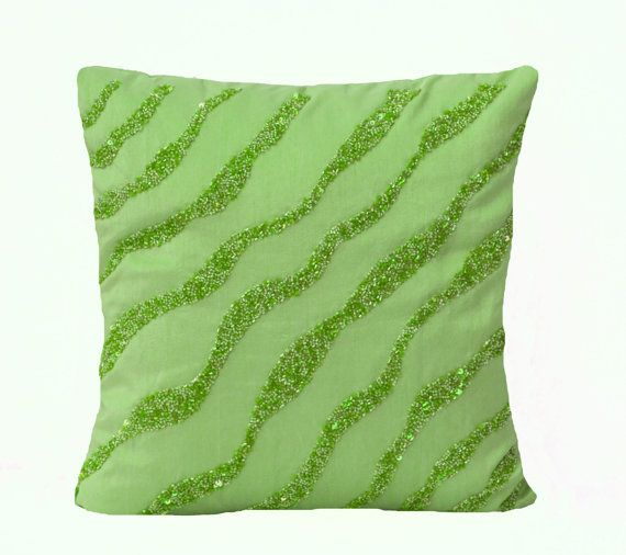 Green throw Pillows  Green waves sequin bead detail by AmoreBeaute