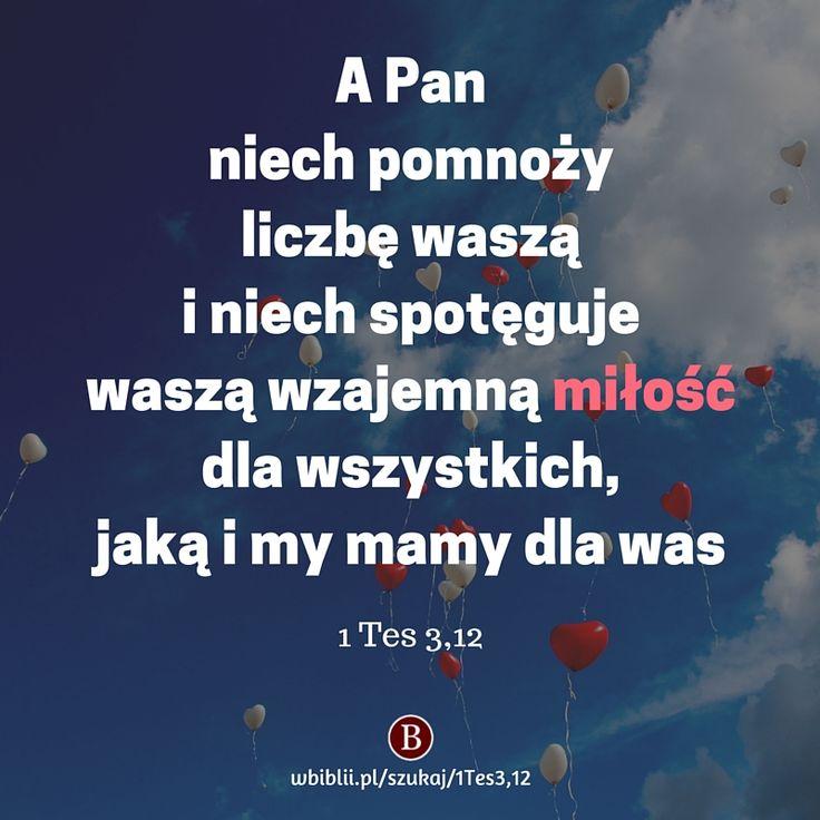A Pan niech pomnoży liczbę waszą i niech spotęguje waszą wzajemną miłość dla wszystkich, jaką i my mamy dla was https://wbiblii.pl/szukaj/1Tes3,12