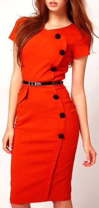 Retro Belted Pencil Dress //