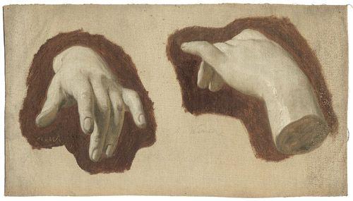 Anton von Werner, Zwei Handstudien nach einem Gipsmodell, um 1860. Öl auf hellgrau grundierter Leinwand. 22,8 x 40,5 cm.