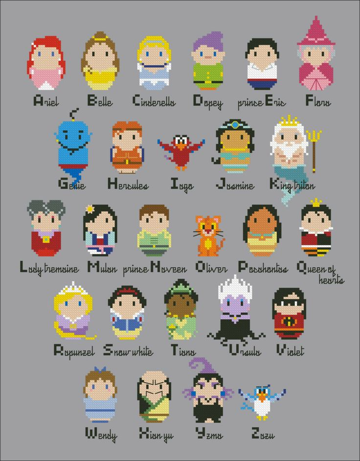 Princesses parody alphabet sampler - Cross stitch PDF pattern