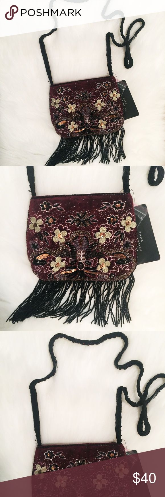 Zara purse Zara purse with embellishments and fringe. Can use as a cross body purse Zara Bags Crossbody Bags
