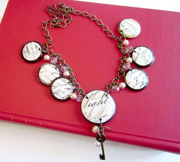 Handmade Victorian Poetry Necklace. If you can believe it, the author used buttons as the base, then decoupaged the Night Poem onto them!  Then she added them to the necklace, as well as embellished with some charms.