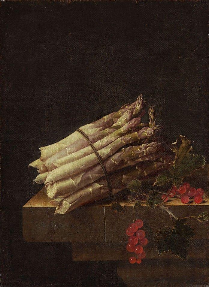 Adriaen Coorte (1683-1707), Stilleven met asperges en rode aalbessen.