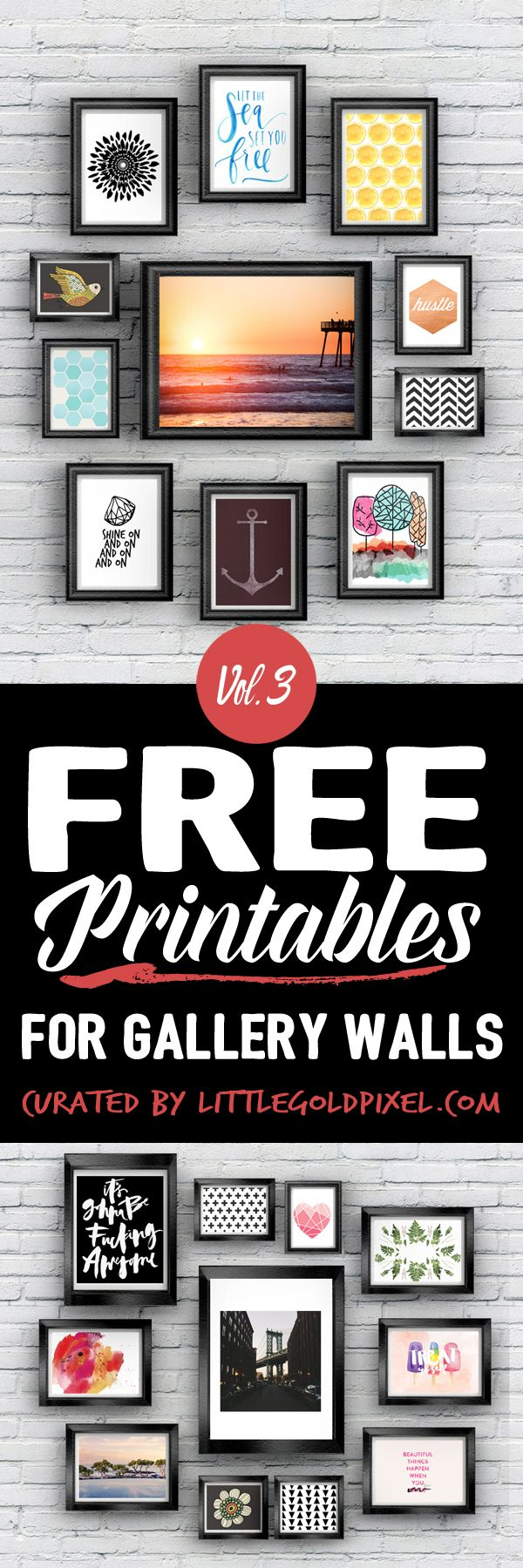A roundup of fun, trendy and beautiful free printables for gallery walls. From patterns to calligraphy to modern stock pics, we've got your hip prints here.