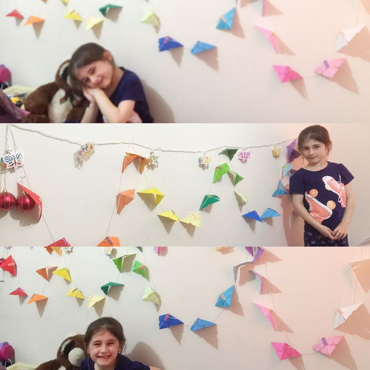 I made an origami butterfly garland and my daughter claimed it for herself.
